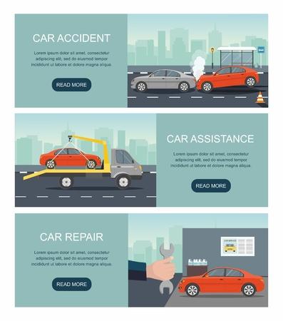 Incidente d'auto, assistenza, servizio di riparazione isolato sullo sfondo della città. Imposta banner web vettoriali