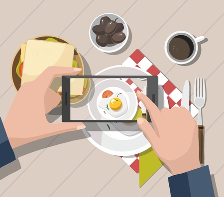 Mobile photography concept. Man taking photos of food on the smartphone. Vector Illustration Standard-Bild - 114085603