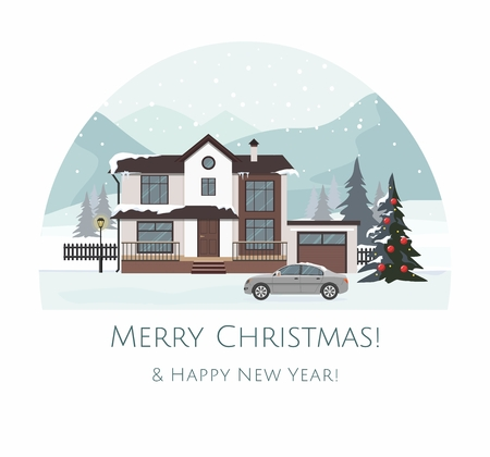 Modern cottage with gray car and Layers of mountain landscape. Christmas greeting card. Vector Illustration