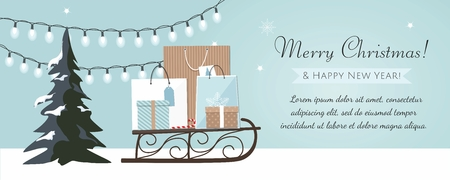 Merry Christmas and New Year banner with Christmas tree, gift boxes and garland on blue Background. Vector Illustration
