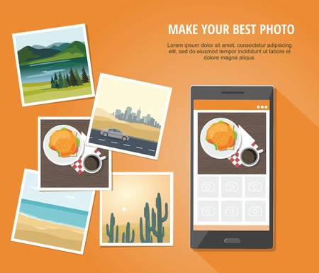 Photo of hamburger and cup of coffee  with smartphone Isolated on orange background. Vector Illustration