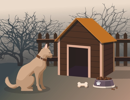 Dog sitting next to the kennel in the yard. Vector Illustration