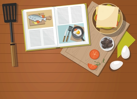 Recipe book, sandwich, egg, Vegetables with spinach, Top view.  Vector Illustration