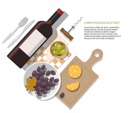 Wine bottle, olives and grapes composition on white background.Wine tasting. Vector Illustration