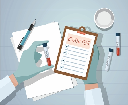 Hands a medical doctor holding blood sample and making notes. Workplace.  Vector illustration 矢量图像
