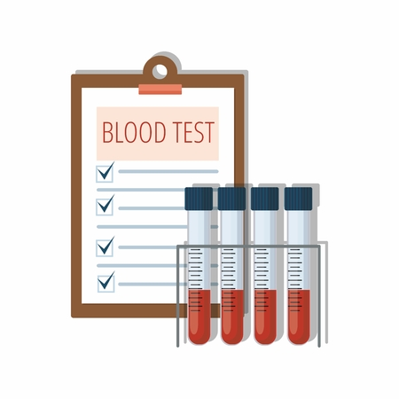 Medical test tubes with blood in holder and test results on white. Vector Illustration