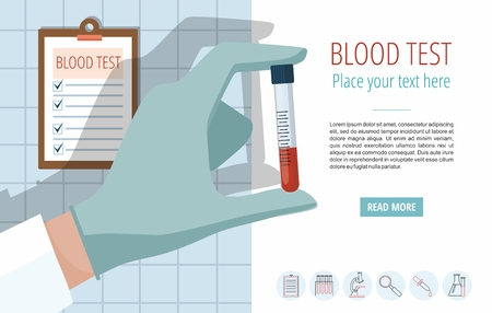 Doctors hand holding blood sample. Vector template with icons and text