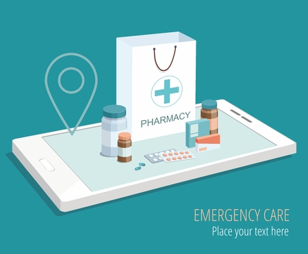 Paper bag with medical equipment and pharmacy on smartphone. Isometric vector Illistration