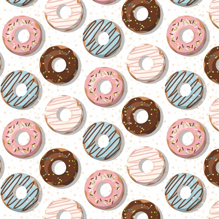Pattern with glazed donuts on white. Vector Illustration Stock Illustratie