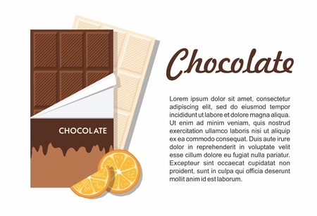 Chocolate Bar Package with orange on white. Vector Illustration