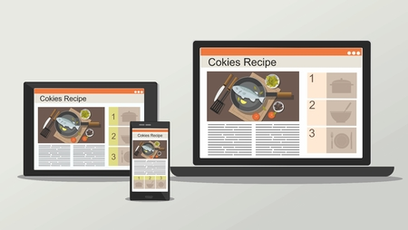 Laptop, mobile phone and tablet with recipe. Online cooking concept. Vector Illustration