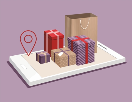 Paper bag and gift boxes on smartphone. Isometric vector Illistration. Shopping online concept Vectores