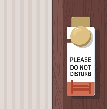 The hotel room with DO NOT DISTURB sign on the door. Vector Illustration
