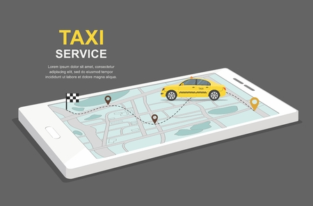 Taxi service concept. Business infographic with transport on smartphone. Isometric vector Illustration Vettoriali