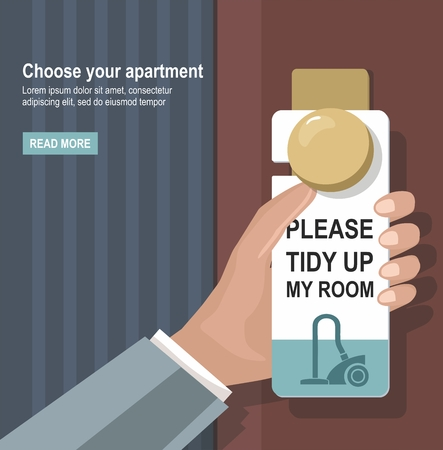 The hotel room. Man holding a sign PLEASE MAKE UP ROOM on the door. Room cleaning. Vector Illustration