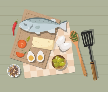 Different food on the table. Egg, Vegetables and fish. Top view. Cooking concept. Vector Illustration