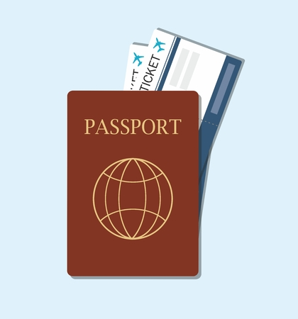 Passport with tickets, passport and boarding pass tickets icon top view. Vector Illustration