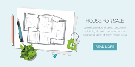 Construction project architect house plan with tools. Key with symbol of house. Construction background.  Web banner Illustration