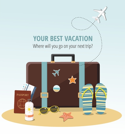 Travel concept Summer suitcase, Beach Accessories, passports and tickets on beach.  Vector illustration