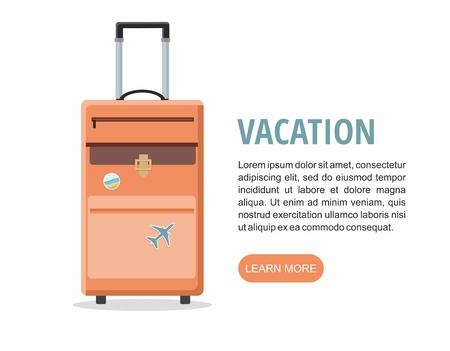 Travel Orange suitcase on white background. Vector Illustration