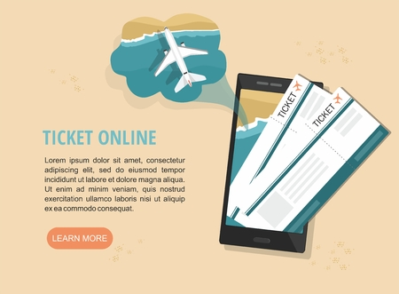 Mobile tickets service. Boarding pass on a smartphone screen, isolated on sand. Vector web banner