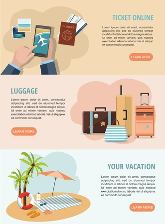 Set Vacation and travel web banners. Travel suitcases,   Mobile tickets service and Beach Accessories. Vector Illustration
