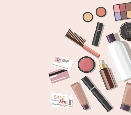 Top view of different cosmetics beauty products. Vetores
