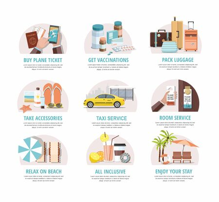 Travel. Summer Vacations. Beach resort infographics Template. Vector icons