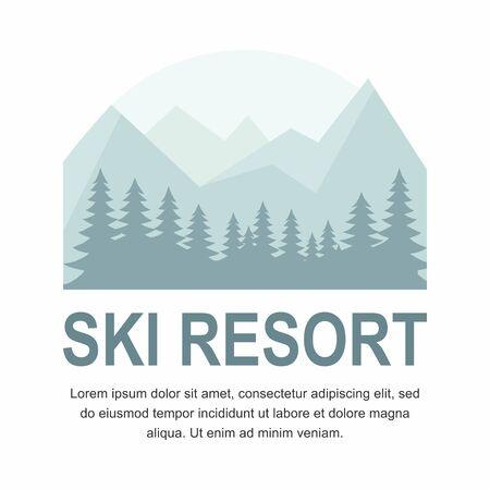 Ski resort icon emblem with Mountain on white background