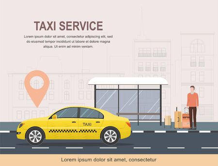Taxi service template on background of city. 일러스트