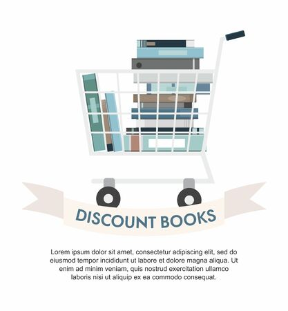 Books inside shopping cart on white. Discount books.