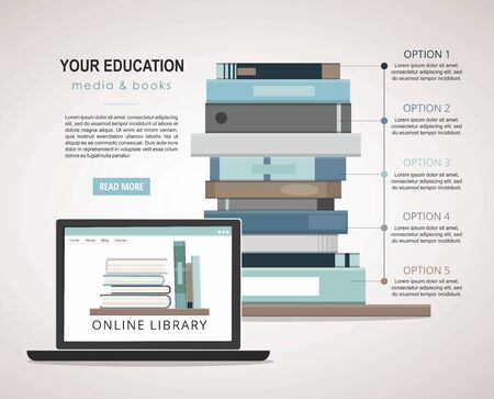 E-learning concept. Education infographic with pile of books and laptop.