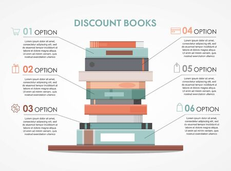 Education info graphic with pile of books design concept.