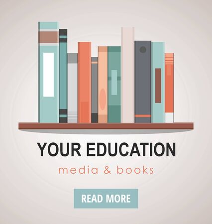 Education and reading concept - group of colorful books on the wooden bookshelf. Web banner