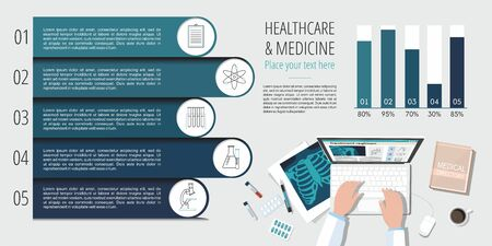 Doctor's table workplace. Medicine Infographics Information. View from the top. Illustration
