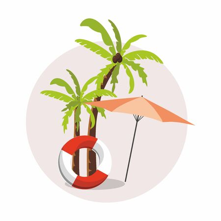 Summer vacation, tourism. Umbrella and palm tree circle icon. 向量圖像
