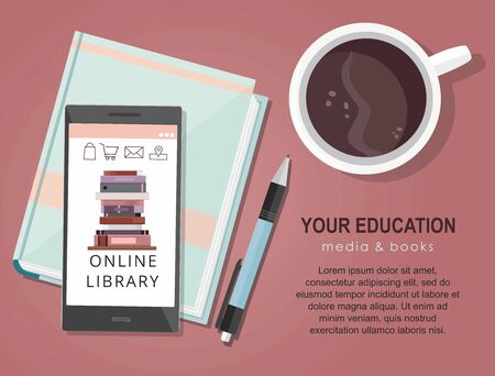 E-learning education internet library or book store. Mobile phone application.