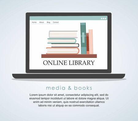 E-learning education internet library or book store. Flat design concept.