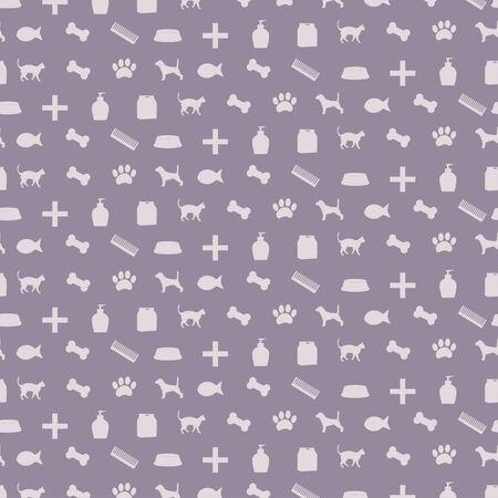 Pattern with pet shop equipment illustration. 向量圖像