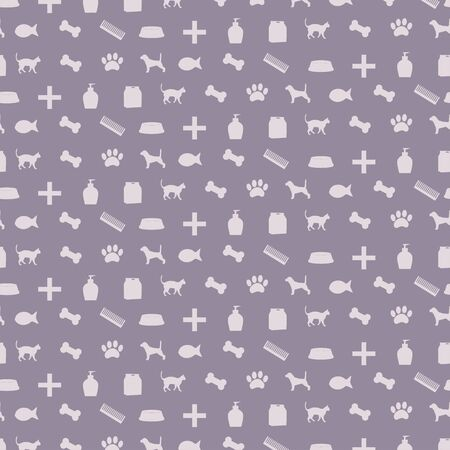 Pattern with pet shop equipment illustration. Illustration