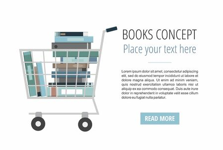 Books inside shopping cart on white. Discount books web banner.
