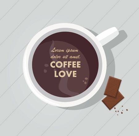 Mug with coffee and chocolate on the table. Top view Illustration