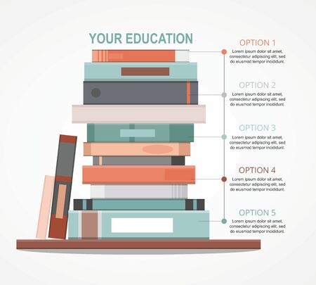 Education infographic with pile of books design concept. 向量圖像