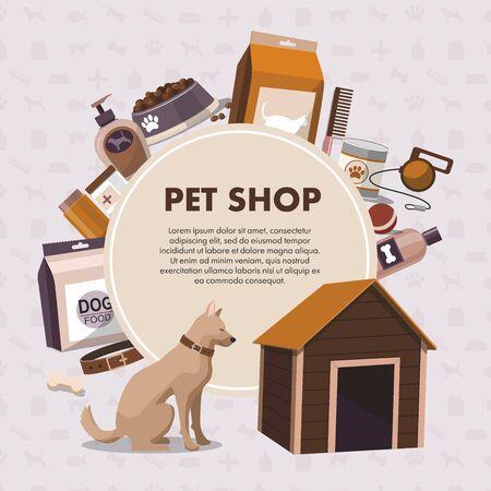 Pets accessories pet shop with dog. Pet shop.