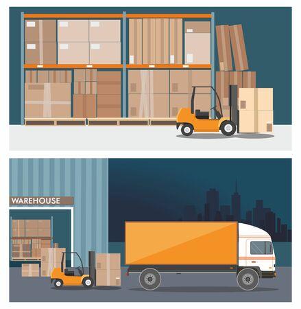 Forklift truck in warehouse building. Truck loading . Nighttime. Иллюстрация