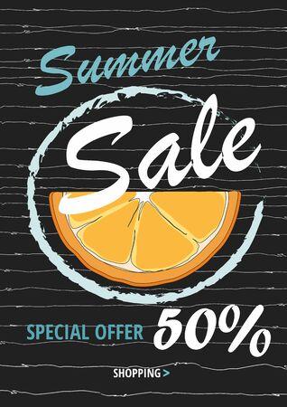 Summer sale template banner with orange on black. Illustration