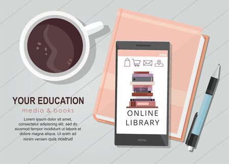 E-learning education internet library or book store. Mobile phone application. Top view