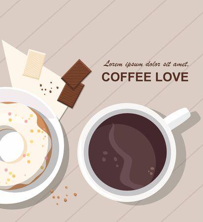 Mug with coffee, donut and chocolate on the table. Top view. 向量圖像
