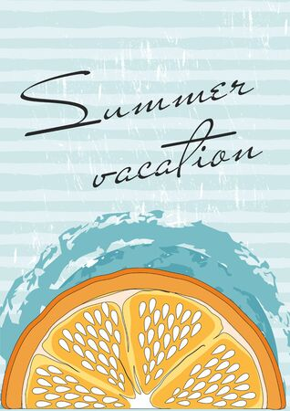 Summer vacation template banner with orange.