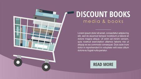 Books inside shopping cart. Discount books web banner. Stock Vector - 130100542
